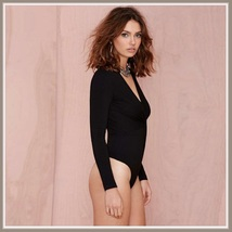 Front Twist Design Black Long Sleeve Plunging V Neckline Bodysuit Romper