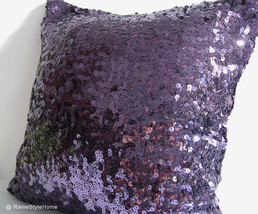 Luxury Glamour. Purple Sequins Embellished Pillow Cover. Hand Sewn Sequins - $39.90