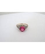 Vintage Sterling Silver Pink Sapphire Filigree Ring Size 6 - $45.00