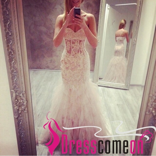 Sexy Mermaid Sweetheart Lace Tulle White Wedding Dress Long Evening/Prom Dresses for sale  USA
