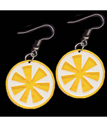 FRUIT SLICE LEMON EARRINGS-Food Charm Funky Nov... - $4.97