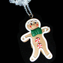 GINGERBREAD MAN PENDANT NECKLACE-BOY-Holiday Cookie Food Jewelry - $6.97