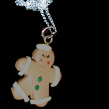 GINGERBREAD MAN NECKLACE-SAILOR-Holiday Cookies Fun Food Jewelry - $6.97