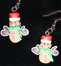 GINGERBREAD MAN EARRINGS-MITTEN-Holiday Cookies Fun Food Jewelry - $6.97