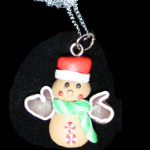 GINGERBREAD MAN NECKLACE-MITTEN-Holiday Cookies Fun Food Jewelry - $6.97