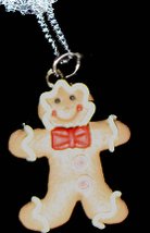 GINGERBREAD MAN NECKLACE-BOW TIE-Holiday Cookie Fun Food Jewelry - $6.97