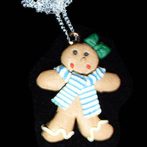GINGERBREAD GIRL NECKLACE-SCARF-Holiday Cookies Fun Food Jewelry - $6.97