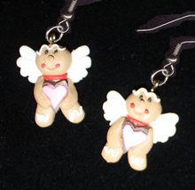 GINGERBREAD EARRINGS-ANGEL-Holiday Cookies Food Novelty Jewelry - $10.97