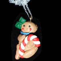 GINGERBREAD MAN NECKLACE-CANDY CANE-Holiday Cookies Food Jewelry - $6.97