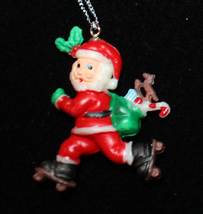 SANTA PENDANT NECKLACE-Roller Skater Holiday Charm Funky Jewelry - $6.97