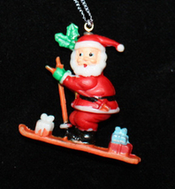 SANTA PENDANT NECKLACE-Skier Holiday Charm Funky Novelty Jewelry - $6.97