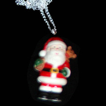 SANTA PENDANT NECKLACE-Teddy Sack Holiday Charm Novelty Jewelry - $6.97