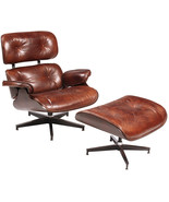 Modern Swivel Tufted Back Accent Chair/Ottoman Vintage Cigar Leather/Ste... - $2,227.50