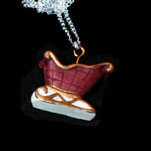 SLEIGH NECKLACE-Red Santa Gift Holiday Christmas Charm Jewelry-C - $6.97