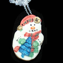 SNOWMAN PENDANT NECKLACE-2-Sided Winter Holiday Novelty Jewelry - $6.97