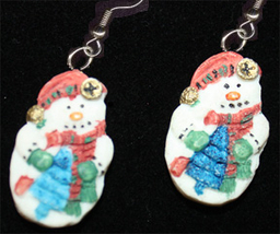 SNOWMAN EARRINGS-2-Sided Winter Holiday Novelty Costume Jewelry - $8.97