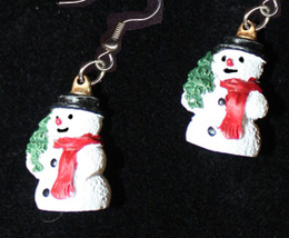 SNOWMAN EARRINGS-TREE-Winter Fun Holiday Novelty Costume Jewelry - $6.97