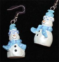 SNOWMAN EARRINGS-Pearl-Winter Holiday Funky Novelty Jewelry-LG-B - $8.97