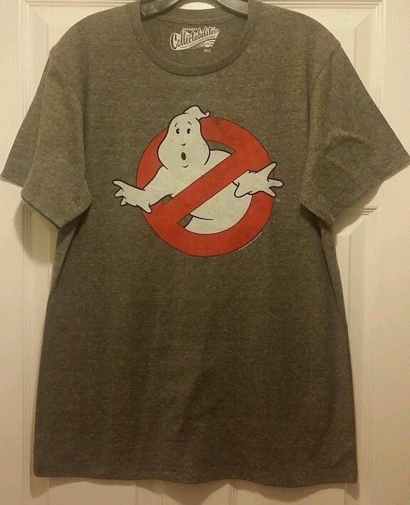 New ghostbusters no ghosts slimer logo adult medium t for Adult medium t shirt