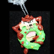 TAZ NECKLACE-BITING WREATH-Tasmanian Devil Funky Holiday Jewelry - $6.97