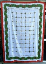 Christmas Tablecloth Garland Holly Berries Mid Century Vintage Retro Hol... - $39.55