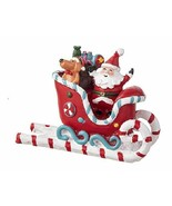Santa Riding on Candy Cane Sleigh Figurine, Christmas Village Santa, Cak... - $10.99