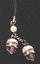 SKULL CELL PHONE CHARM-Aged Crystal-Funky Costume Gothic Jewelry - $6.97
