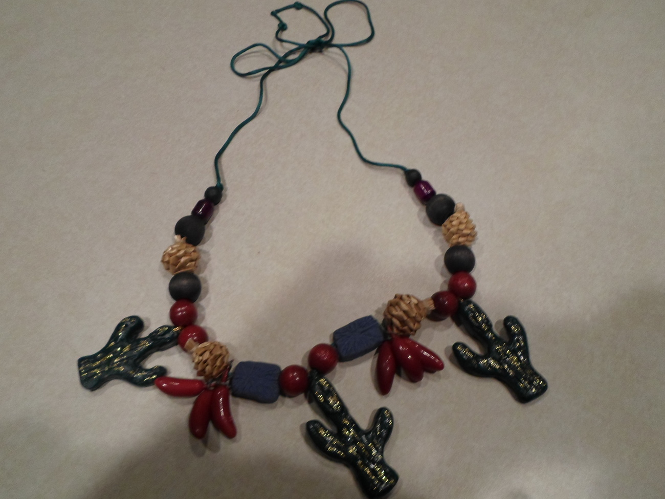 Southwest Kitschy Fun Cactus Necklace