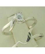 Genuine Diamond Interlocking Engagement Ring Wedding Ring Set 14kt White... - $239.00