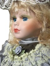 Doll Blond Blue Eyes Porcelain Stuffed Plush Victorian Keepsake Memories... - $39.99