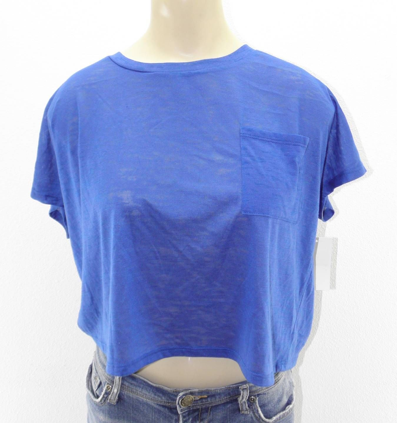 NEW WOMEN'S ABOUND CROP TOP CROPPED T TEE SHIRT BLUE M MEDIUM LOUNGE CASUAL TOP
