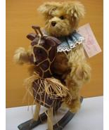 Artist Collectible mohair Teddy Bear & Handmade wooden Giraffe One of a ... - $144.99