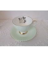 VTG CONSORT FINE BONE CHINA TEACUP AND SAUCER MINT GREEN FLUTED WHITE RO... - $19.75