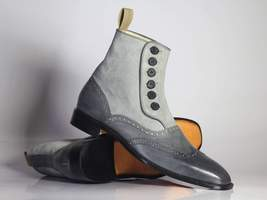 Bespoke Gray Wing Tip Button Top Leather & Suede Boots For Men's - $159.97 - $179.97