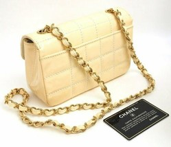 Auth CHANEL Shoulder Bag Ivory Leather Matelasse Chocolate Bar Flap Logo B4285 - $1,317.69