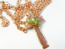 Hammered Copper Metal Cross Pendant Green Crystals 18 inch Necklace - $25.00