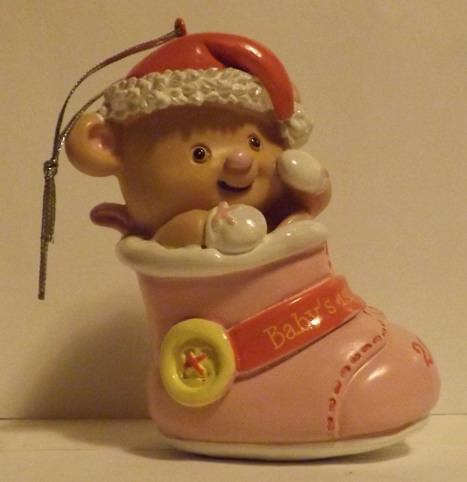 Baby s first christmas girl bootie 2014 ornament baby