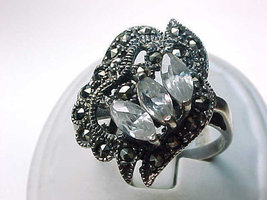 MARCASITES and CUBIC ZIRCONIA Vintage Ring set in Sterling Silver - Size... - $60.00
