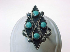 Vintage TURQUOISE Ring in STERLING Silver - Size 8 - 1 1/8 inches long - $50.00