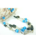 Blue Cat's Eye Labradorite Chain Link Beaded Three Strand Necklace - $32.00