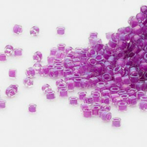 Miyuki Delicas 11/0, Lined Dk Lilac AB 73, 50g of beads fuchsia pink, ma... - $14.50