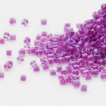 Miyuki Delicas 11/0, Lined Dk Lilac AB 73, 50g of beads fuchsia pink, magenta - $14.50