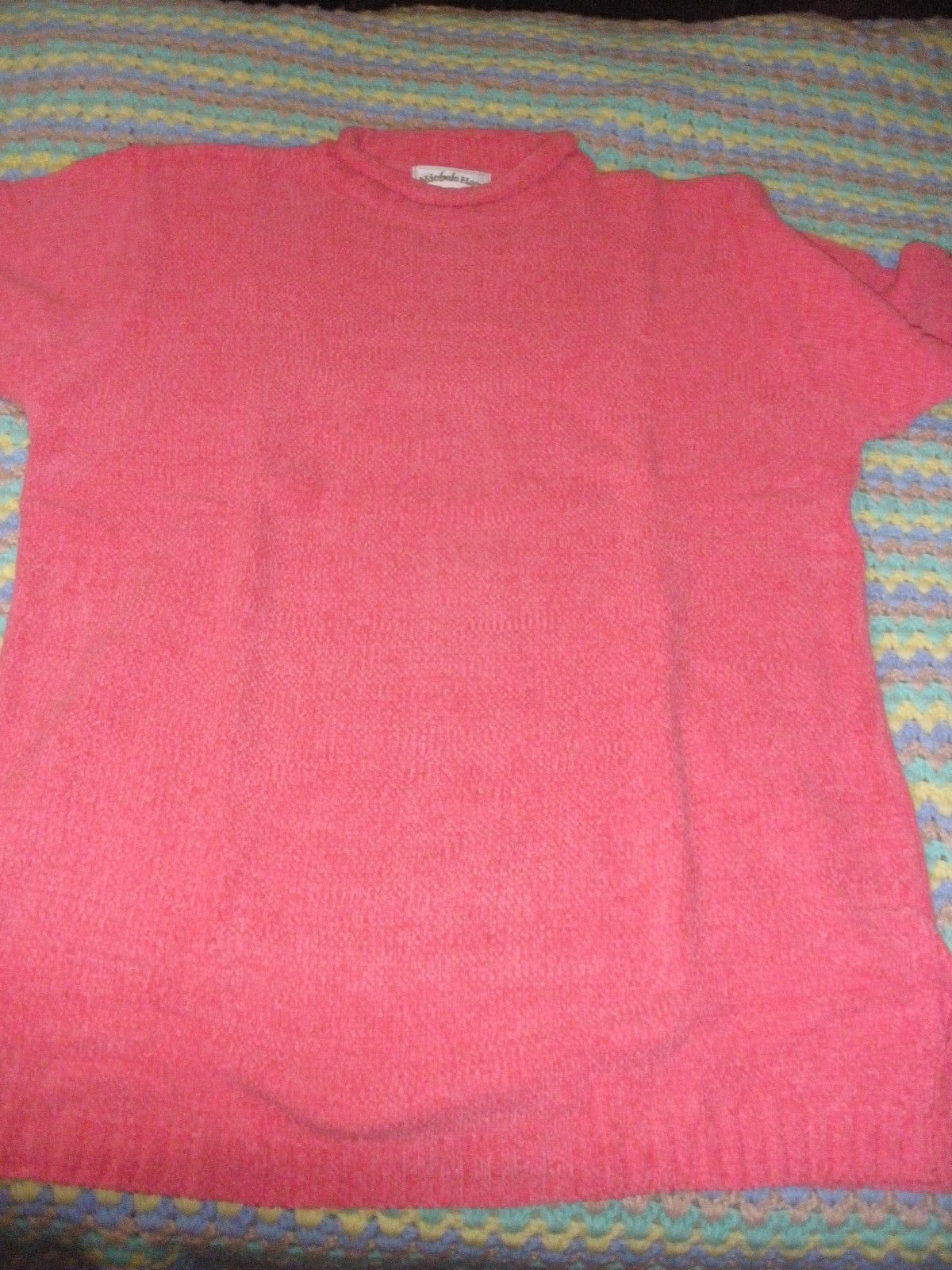 Michele Hope pink acrylic sweater new in package  M roll edge neck side splits - $20.50