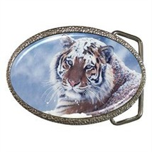 GORGEOUS TIGER IN SNOW BELT BUCKLE CHROME FINISH - $12.99