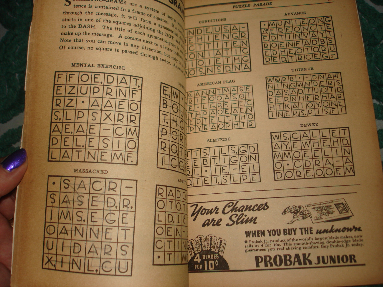 PUZZLE PARADE MAGAZINE OCT 1936 DELL PUBLISH CROSSWORDS ETC OLD ADS GREAT COVER