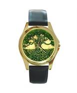 BEAUTIFUL GREEN CELTIC TREE DESIGN GOLD-TONE WATCH - $25.99