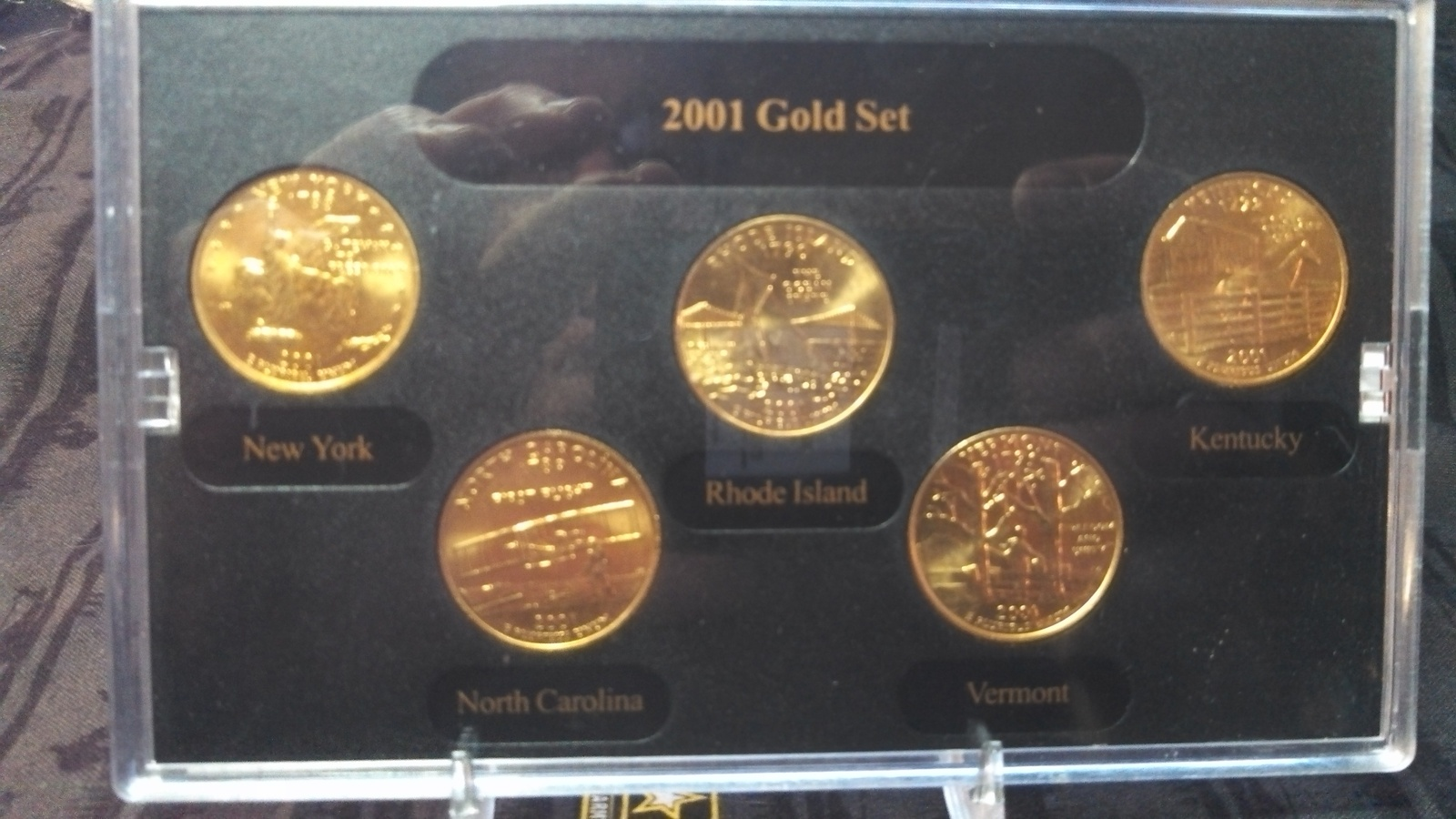 2001 Gold Plated Quarter Set With Display Case & COA-2001-FREE SHIPPING image 2