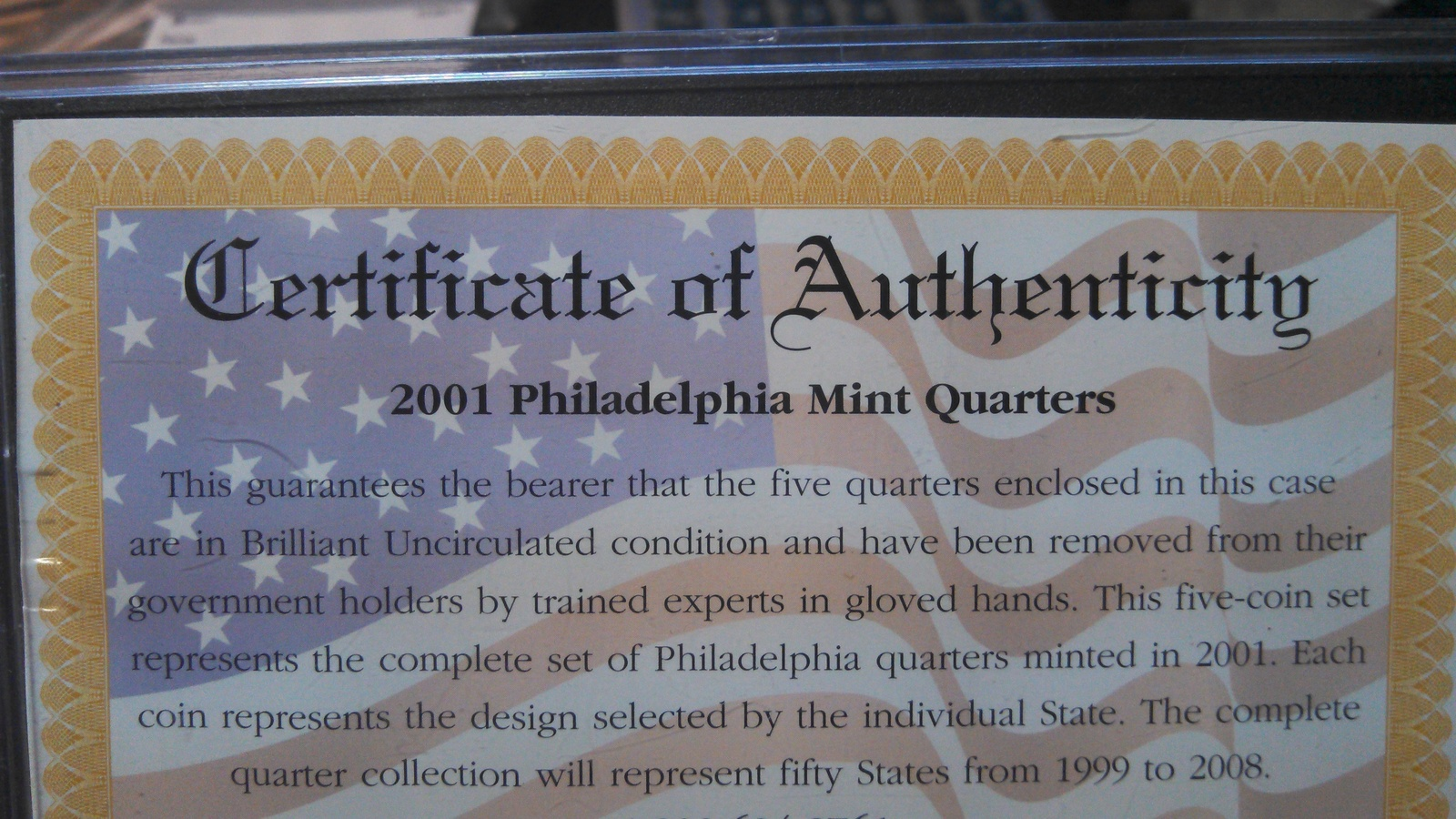 2001 Gold Plated Quarter Set With Display Case & COA-2001-FREE SHIPPING image 4