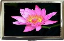 PRETTY PINK FLOWER LILY FLORAL CIGARETTE CARD CASE