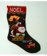CHRISTMAS Xmas Needlepoint Stocking NOEL Santa ... - $4.89